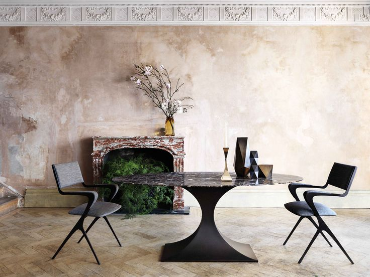 tom faulkner capricorn table with oval marble top