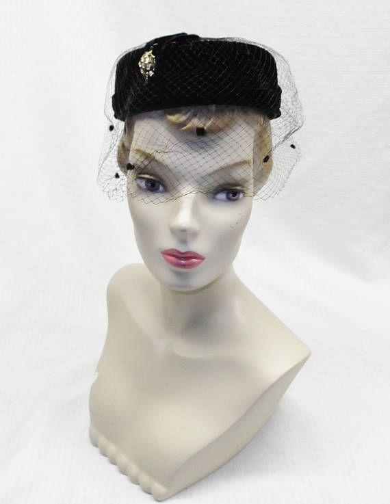 50s 60s Vintage Black Velvet Pillbox Hat with Rhinestone Leaf ... e47b5188956