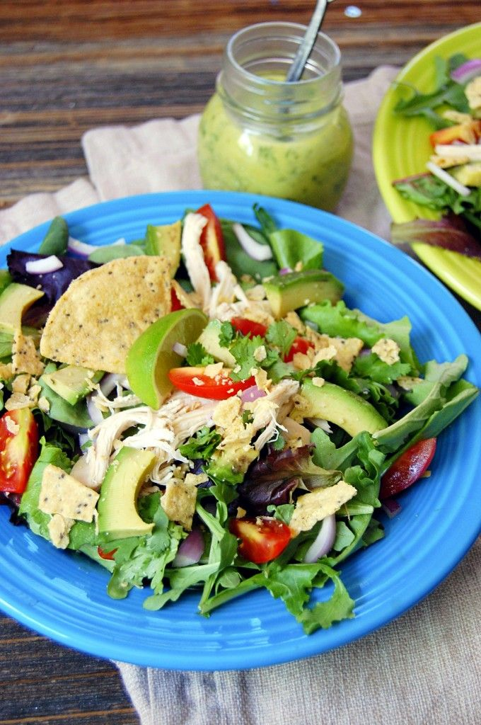 Guacamole Greens Salad with Lime Cilantro Dressing