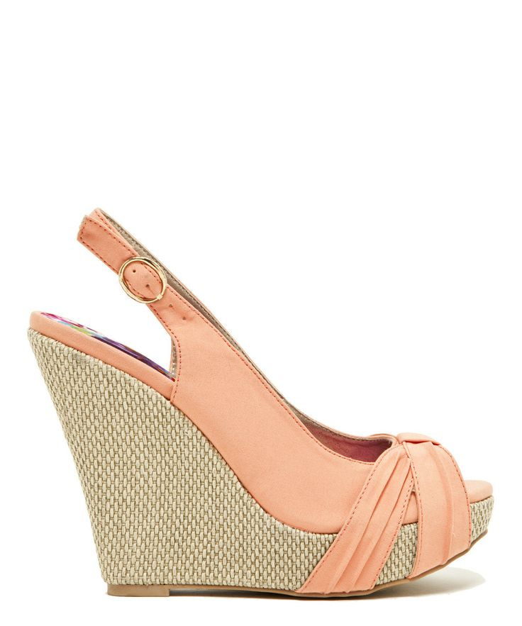 Coral Glory Slingback Wedge