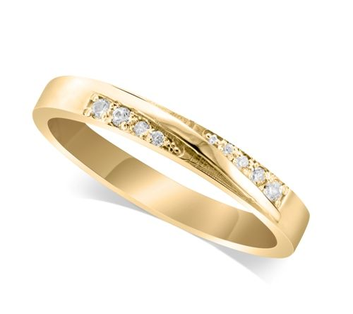 9ct Yellow Gold Ladies 3.5mm Band Crossover Diamond Ring Set with 0.04ct of Diamonds On Each Side Of The Ridge