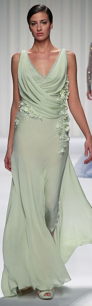 Mint, Draping, Petals and Vines  Abed Mahfouz Couture SS 2013