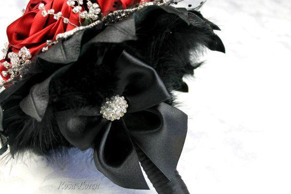 Bouquet de rosa roja ramo rojo ramo de novia por BouquetByRosaLoren