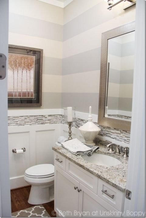 Grey Striped Walls in bathroom 2015 Birmingham Parade of Homes decorating Ideas. Built by Town Builders in Mt Laurel, Birmingham Alabama.
