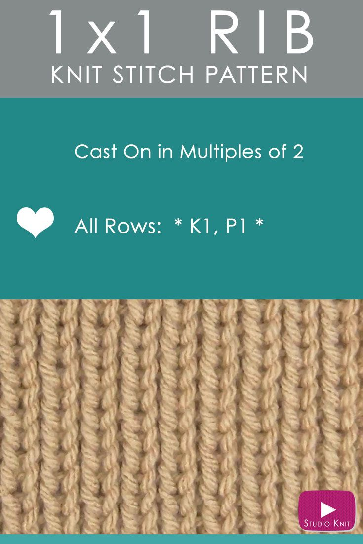 How to Knit the 1X1 RIB Stitch Easy Free Knitting Pattern with Studio Knit