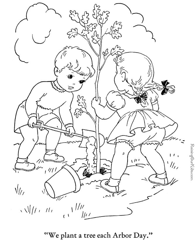 Tree Coloring Pages 010 Playing Kids Enjoying Life Embroidery