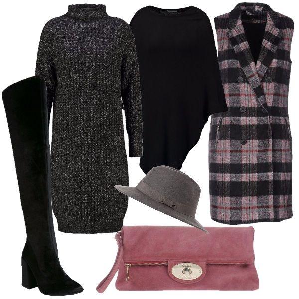 Il vestito in maglia grigio nero melange è abbinato al gilet a doppio petto a scacchi nero e rosa. Per completare mantella in maglia nera. Come scarpe dei stivali in velluto nero con gambale alto sopra il ginocchio e tacco comodo e alto. Per completare borsa pochette in camoscio rosa intenso e cappello con falde grigio.