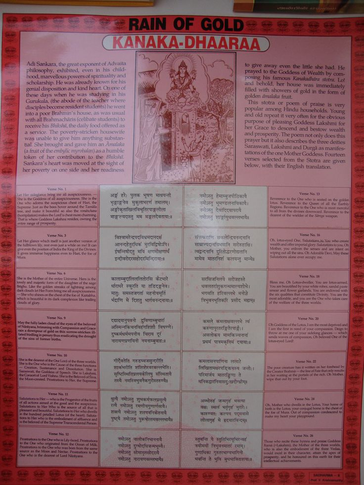8. Rain of Gold This is the story of Adi Sankara who as a boy composed this stotra in Sanskrit of Goddess Lakshmi and miraculously helped a poor lady who had the greatest compassion and spirit of generosity while she herself needed all the compassion that humanity can muster. Fourteen slokas from the text of the Kanaka Dhaara Stotra and its meaning.