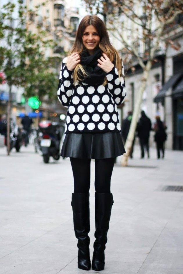 street_style-look-outfit-leather_skirt-high_boots-polka_dot-sweater-black_and_white-trench-red-lunares-falda_cuero-botas-gabardina-trendy_ta_zps9f15ecbf