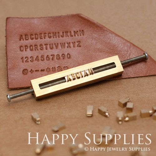 Custom 26 Alphabet Letter Brass Leather von HappyJewelrySupplies