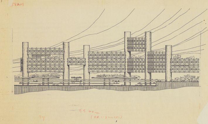 Arata Isozaki, City in the Air, Shinjuku, Tokio, 1960-61, elevation