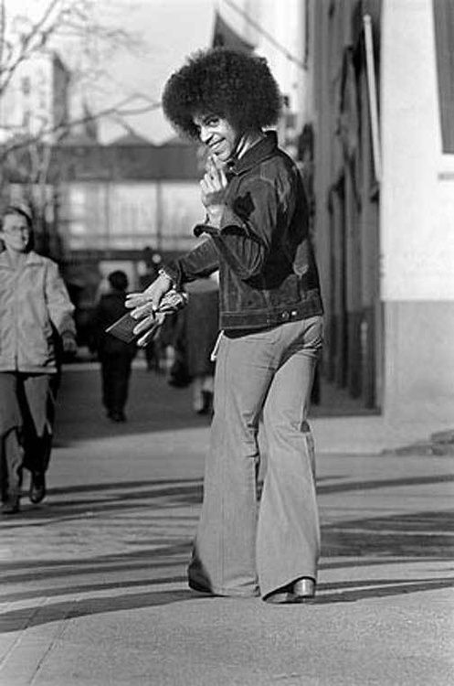 Prince, 1970s. - Check out Prince and his afro. My sister had a life size card board cut out of him on his motorcycle in her bedroom.