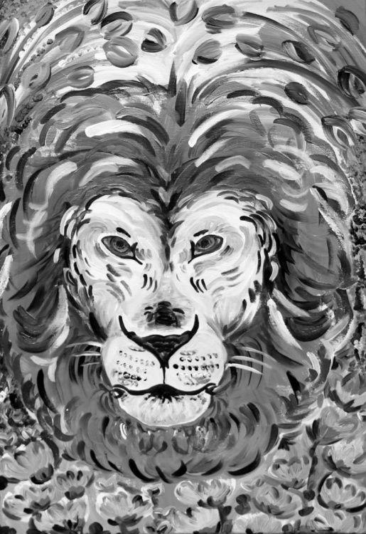Indian Lion - Full-frontal image, unframed