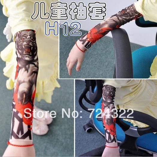 10pcs temporary arm sleeve cool Child kids Nylon Stretchy Fake Tattoo Sleeves scorpion Stockings Cartoon Free shipping