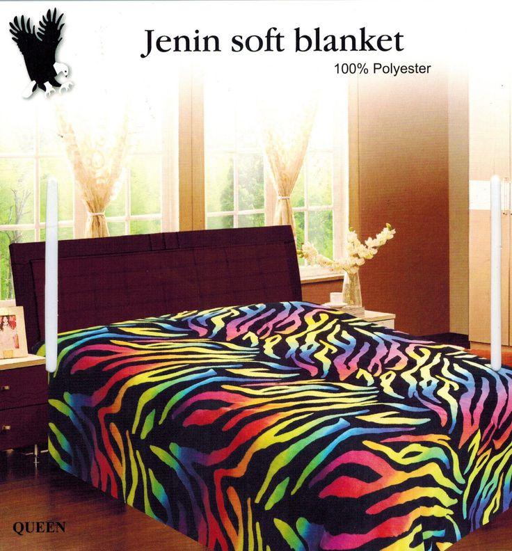 King Super Soft Rainbow Zebra Print Microfiber Blanket Throw Beautiful | eBay