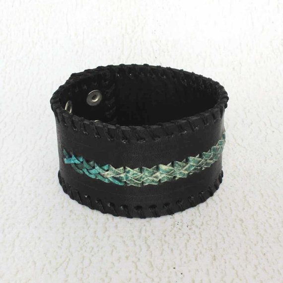 Cool Mens Bracelet  Black Leather Wristcuff  Guys Gift Ideas