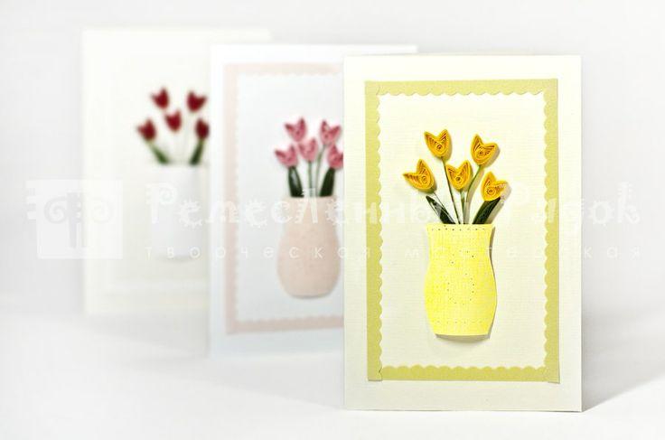 Тюльпаны в вазе квиллинг