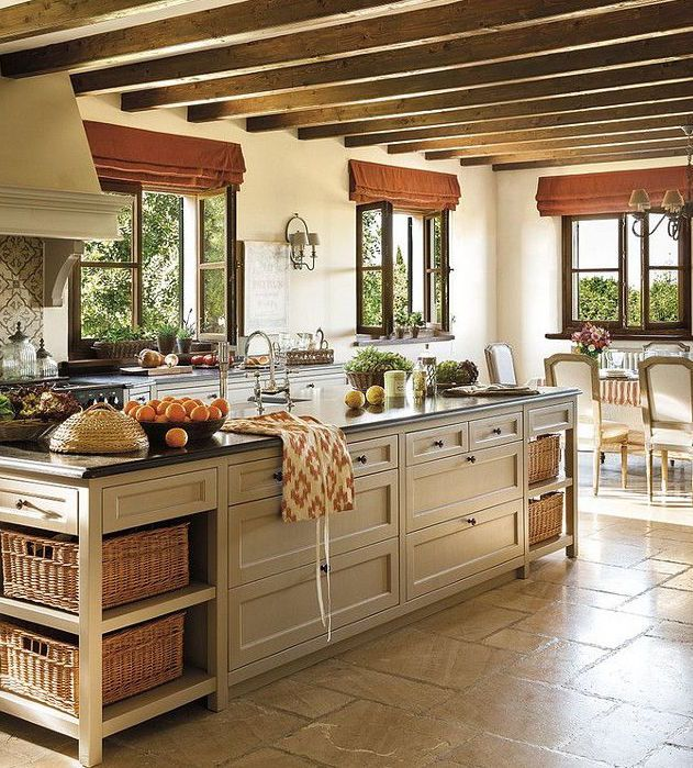 French Farmhouse Kitchen Design: Exposed Ceiling Beams In A Rustic Setting With
