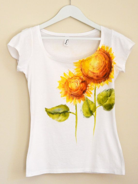 Yellow Sunflowers Hand Painted MYgarden por Christeesandtops