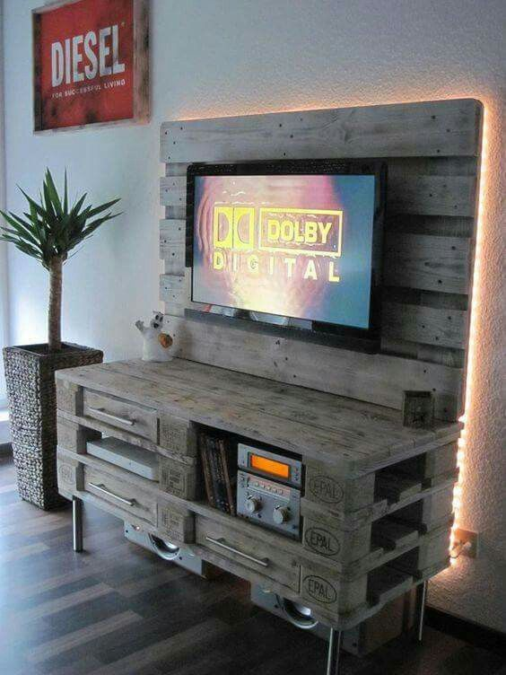 TV wall unit made from wood pellets