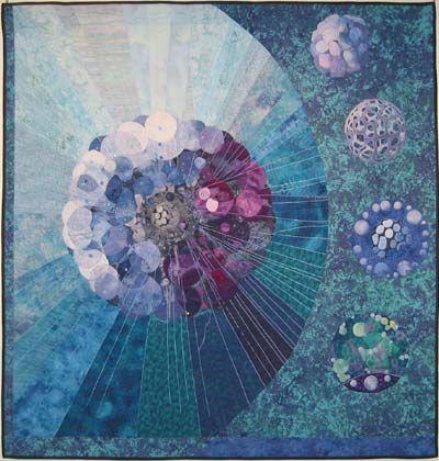 "Quilt by Barbara J. West  ""Mandalas of Science I: Thalassicolla pelagica""  Photo by Joseph Potts"