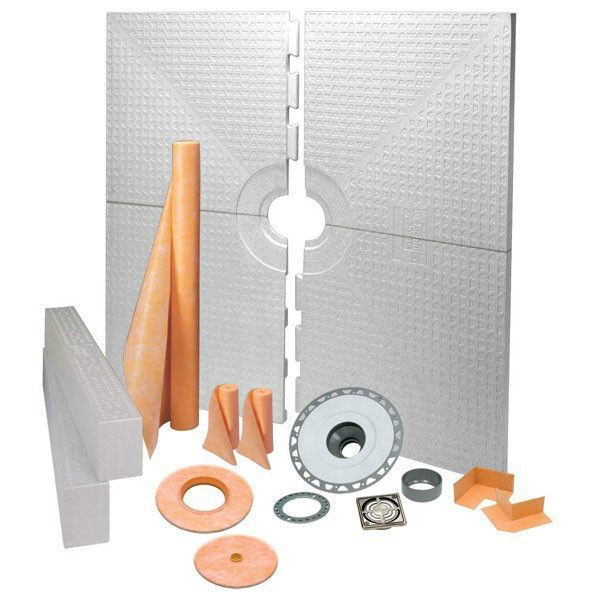Schluter Kerdi Shower Kit Center Drain Tray Brushed Nickel Anodized Aluminum Pvc Flange 72x72