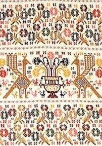 """arazzo. Tessitura  """"a punto""""  caratteristica della lavorazione più pregiata, ricca e decorativa degli arazzi di Bonorva, Mogoro, Morgongiori, Santa Giusta, Ploaghe, Sant'Antioco."""
