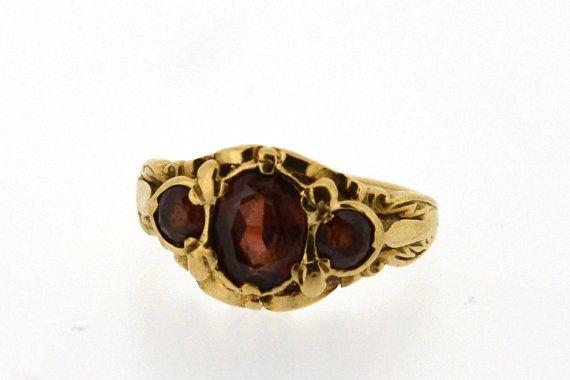 Vintage Granat Ring in 9ct Gelb Gold, Granate drei Stein, Jahrgang Granat Ring, Granat Ring, Granat und Gold Ring, Jahrgang Verlobungsring