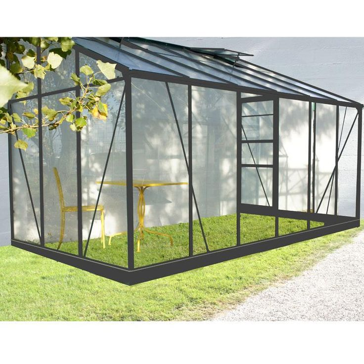 Serre de jardin adoss e 9 61m en aluminium laqu gris et for Serre de jardin maison