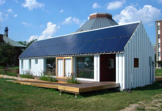 Solar Powered Gable House generates 4 times the amt of energy it consumes!