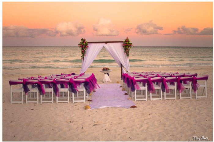 A picture perfect setting at sunset on the beach at Secrets Maroma Beach Riviera Cancun!