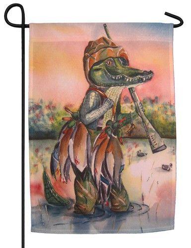 Alligator Hunting Duck Garden Flag