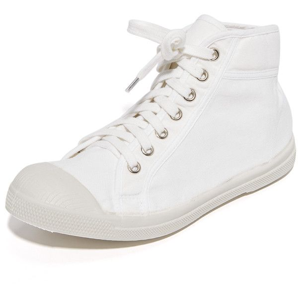 Bensimon Tennis Mid Sneakers (€42) ❤ liked on Polyvore featuring shoes, sneakers, white, white canvas sneakers, white canvas shoes, canvas lace up sneakers, white hi top sneakers and white high-top sneakers
