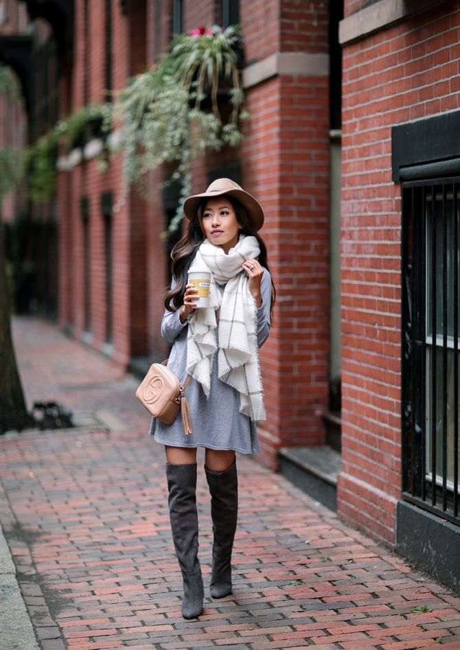 Fall casual outfit idea // swing dress + blanket scarf + over the knee boots  + wool hat