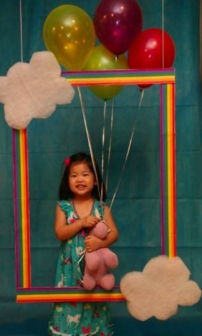 Kids photo booth at a birthday party. Cute idea!