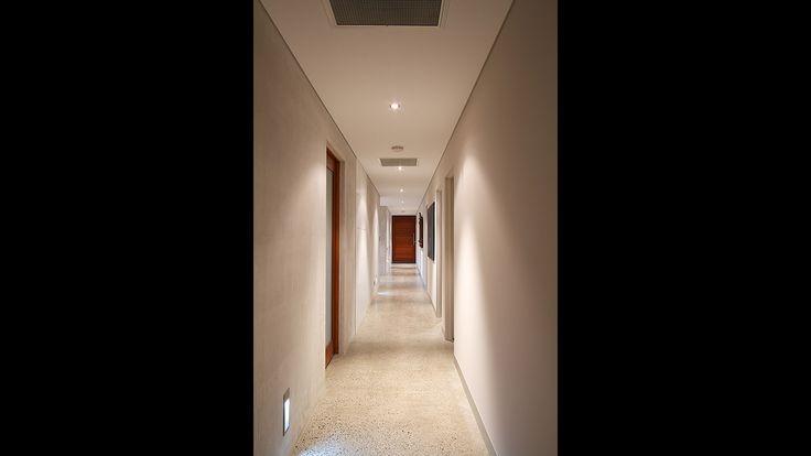 Polished concrete floor, passage way, hallway