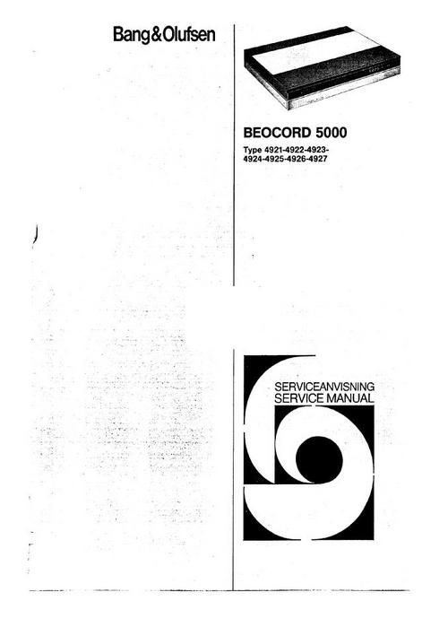 Bang & Olufsen Beocord-5000 Service Manual  (type 4921 , 4922 , 4923 , 4924 , DOWNLOAD
