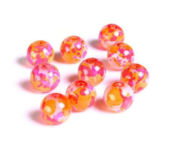 8 milímetros rosa laranja vermelho manchado rodada contas de vidro - grânulos de vidro de padrão Multicolor spot - 10 peças (1507) - taxa fixa de envio