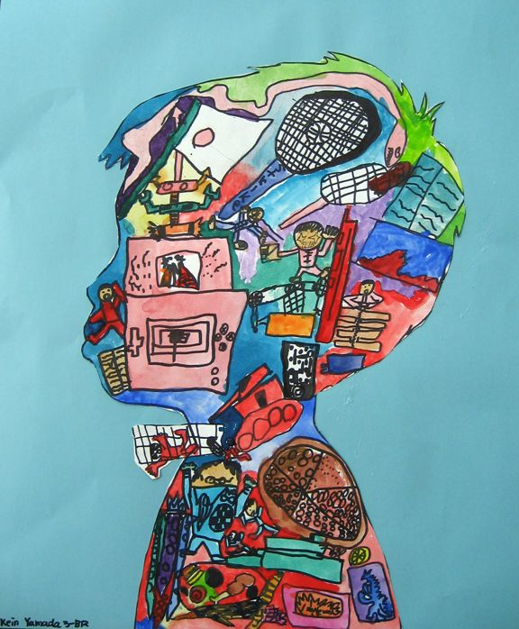Inspiration for fourth grade art portrait turning collage imagery into drawings....might be fun as a pre-writing idea