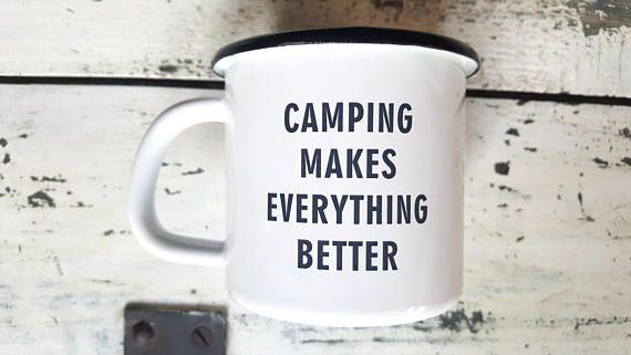 Personalized Enamel Camping MUG / Tin Coffee Cup / Camper