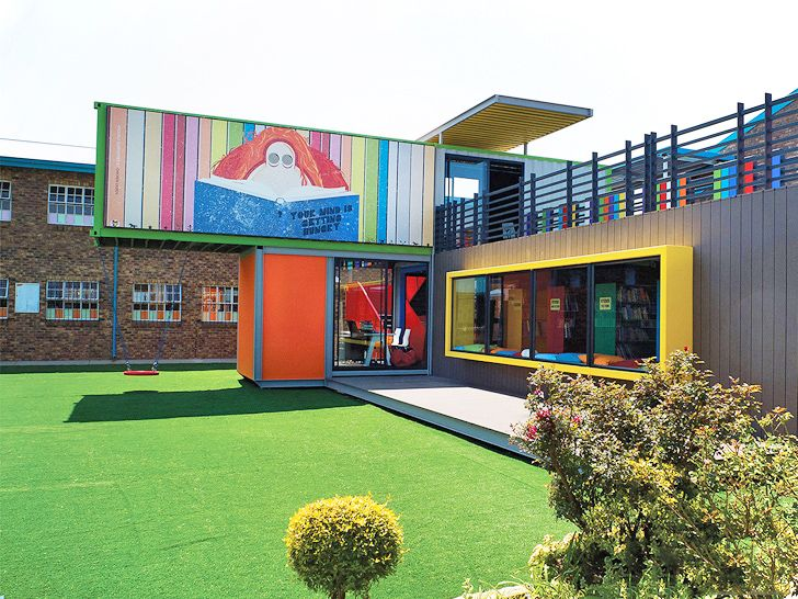Multicolor Recycled Shipping Containers Provide a Bright Learning Environment for Kids in South Africa
