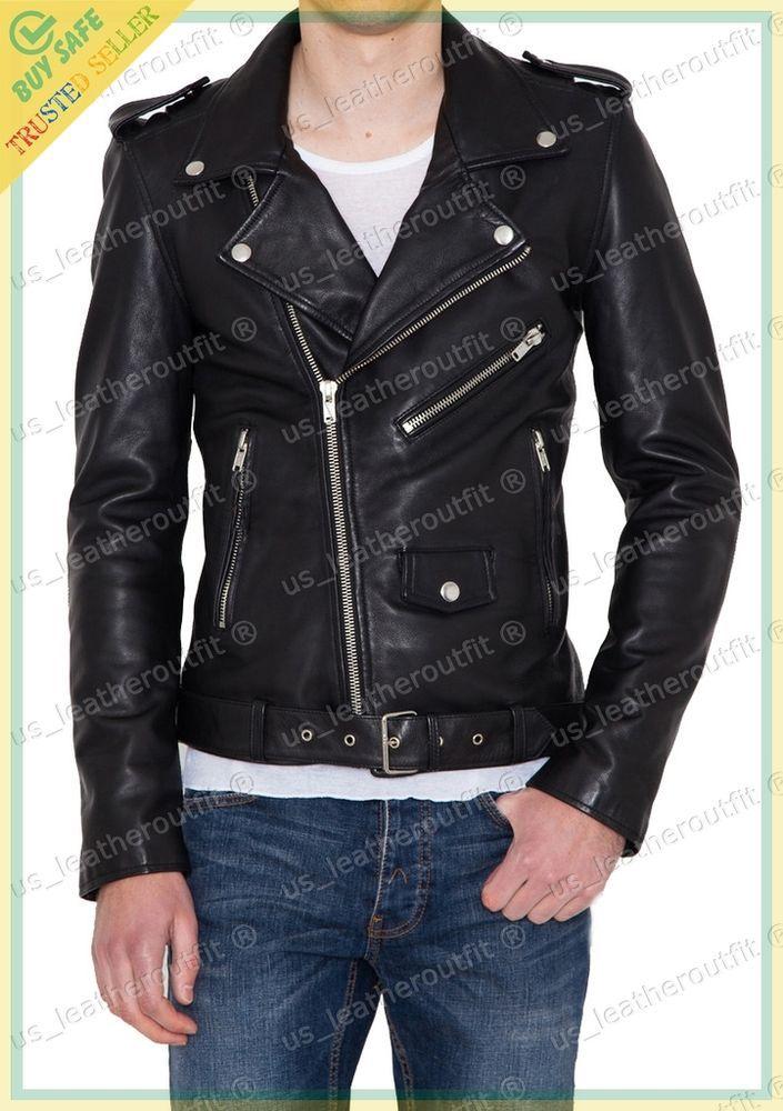 New Men's Genuine Lambskin Leather Jacket Black Slim fit Biker Motorcycle jacket #USLEATHEROUTFIT #Motorcycle