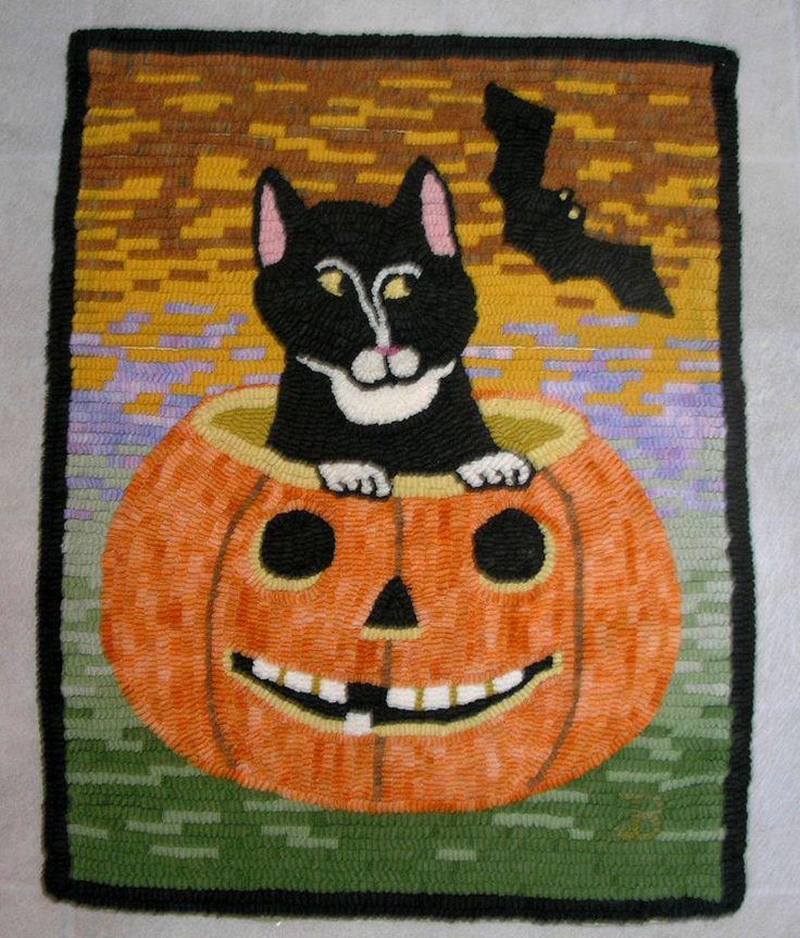 Halloween Cat In Pumpkin Folksy Hand Hooked Rug, Wall Rug