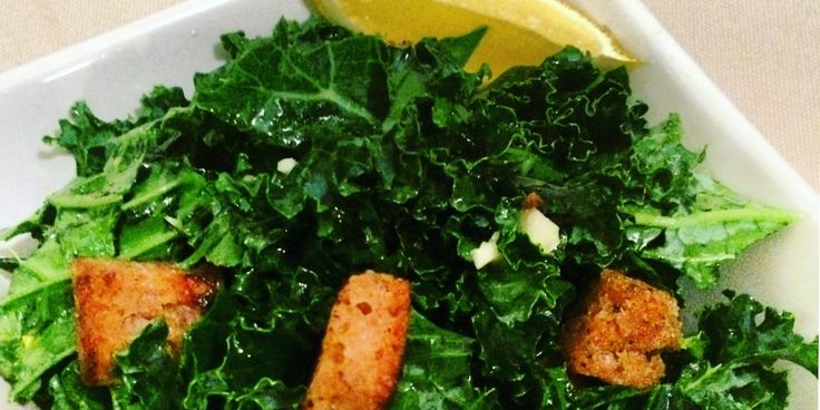 Killer Kale Caesar (w/ sourdough croutons) & Apple Cider Vinegar Dressing! This salad is amazing... Recipe on the Blog