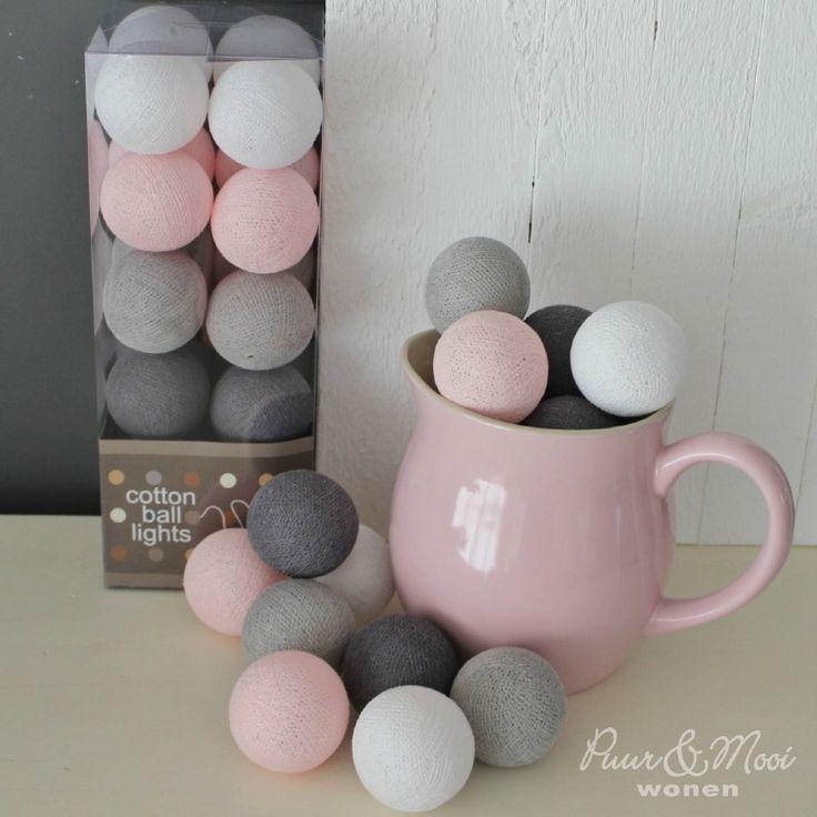 Cotton Ball Lights Pastel Roze/Grijs Tijdelijk Uitverkocht