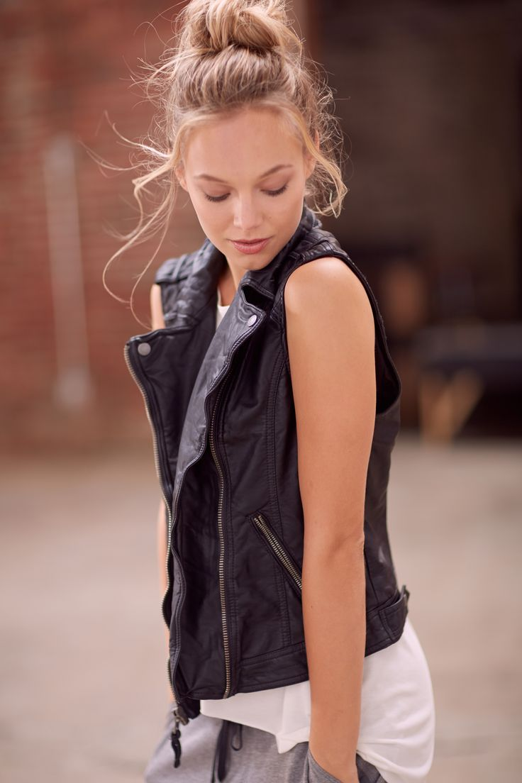 Sport to Street: Athletic Inspired Everyday Luxe. Leather Vest