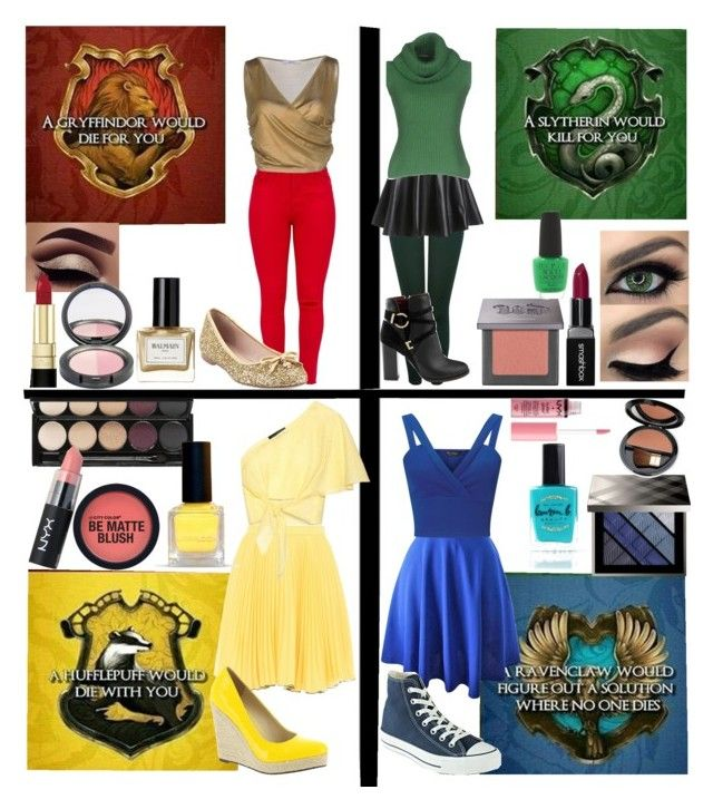 """""""Hogwarts House Colors"""" by cutesyart on Polyvore featuring Boutique Moschino, Anna October, Michael Antonio, Witchery, NYX, Kate Spade, Dolce&Gabbana, M&Co, Miss Selfridge and Ermanno Scervino"""