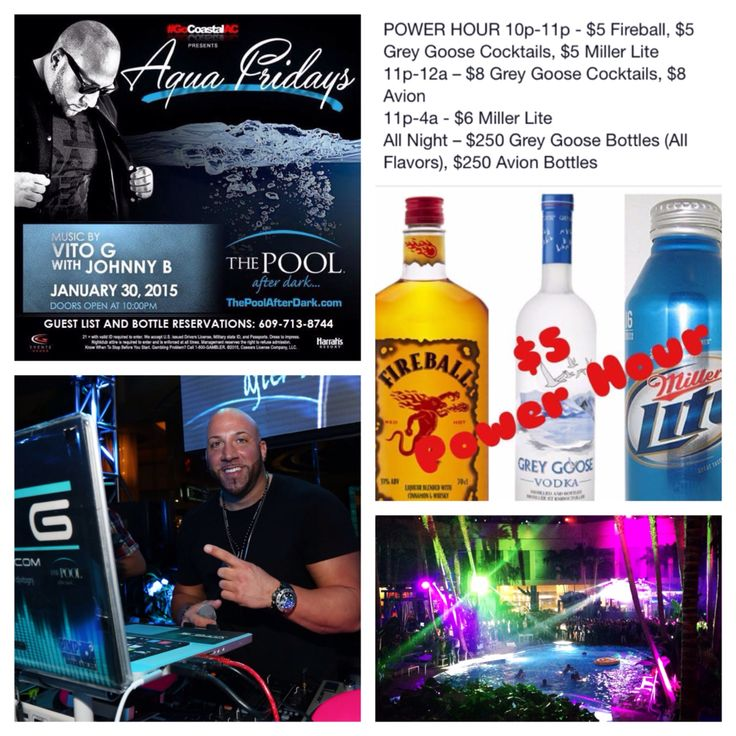 TONIGHT!!! Aqua Friday with DJ Vito G and DJ Johnny B @ The Pool After Dark-Harrahs AC. Must say *PHIL M* at the guest list table from 10pm till 12am for FREE ADMISSION. ---------- Please RSVP your name & head count to 609.713.8744 now! ---------- Drink specials are on the flyer!!!