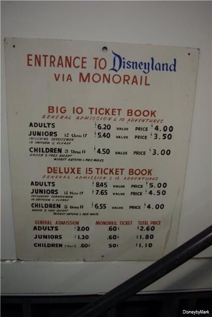 Disneyland ticket prices from 1964. Oh my gosh, I remember these from the 70s.