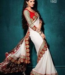Buy White embroidered georgette saree with bloluse designer-embroidered-saree online